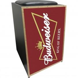 Cajon Acústico Inclinado Profissional K2 COR-001 Budweiser J - Jaguar + vassourinha brinde