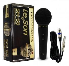 Microfone Profissional Leson Sm58 P4 Bk Preto Fosco