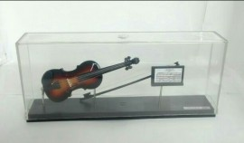 Miniatura De Violino No Acrilico 15cm + Porta Partitura