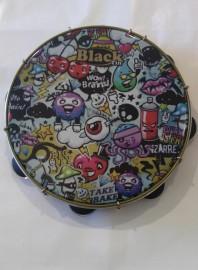 Pandeiro Profissional Black Tin 12''  Grafites